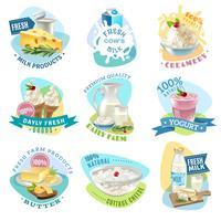 Ensemble d'emblèmes de produits laitiers vecteur