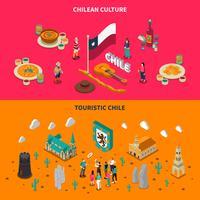Chili touristique 2 bannières horizontales isométriques