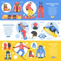 Bannières horizontales de snowboard