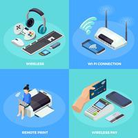 Technologie sans fil 4 icônes isométriques Carré
