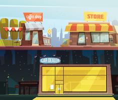 Ensemble de bannières de bâtiments de magasin vecteur