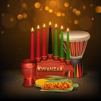 Kwanzaa Kinara, affiche colorée sur fond de composition