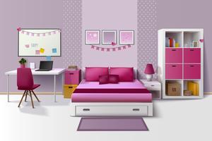 Image réaliste de l'intérieur de la chambre de la jeune fille vecteur