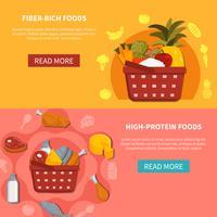 Bannières horizontales de supermarché alimentaire vecteur