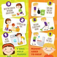 Bannières de nettoyage pour enfants vecteur