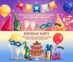 Bannières horizontales de fête d'anniversaire vecteur