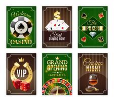 Jeu de bannières mini-affiches cartes de casino vecteur