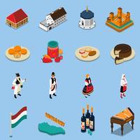 Set d'icônes touristiques isométrique Hongrie vecteur