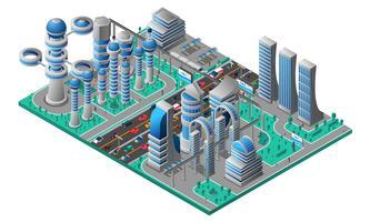 Modèle isométrique de paysage urbain futuriste