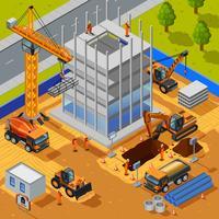 Construction du concept isométrique de bâtiment de plusieurs étages vecteur