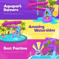 Aquapark Bannières Horizontales vecteur