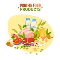 Affiche plate d'illustration de produits alimentaires de protéine