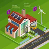 Affiche isométrique de génération d'énergie intelligente pour la maison