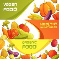 Jeu de bannières horizontales de légumes biologiques frais vecteur