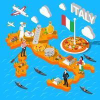Carte touristique isométrique de l'Italie pour les touristes