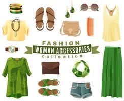 Collection d'accessoires de mode femme vecteur