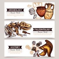 Archéologie Bannières colorées à croquis horizontaux vecteur