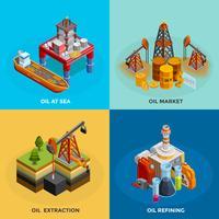 Carré 4 icônes isométrique de l'industrie pétrolière vecteur