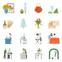Collection d'icônes plat décorateurs d'intérieur professionnels vecteur