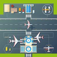 Image de dessus de pistes de l'aéroport vue à plat vecteur