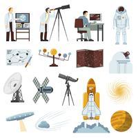 Collection d'icônes plates de matériel de recherche astronomie