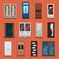 Set de portes de maison vecteur