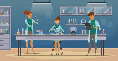 Scientifiques dans l'affiche de dessin animé rétro de laboratoire