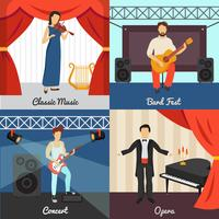 Theater Concept Icons Set vecteur