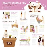 Salon de beauté spa personnes infographie vecteur