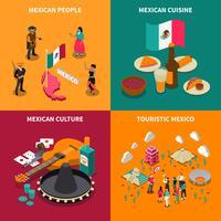 Mexique touristique 4 Isometric Icons Square vecteur