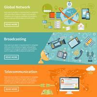 Bannières horizontales de télécommunication