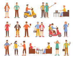 Ensemble d'icônes décoratives personnes hipster vecteur