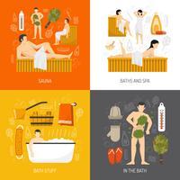 Bath Sauna Spa 4 icônes plates vecteur