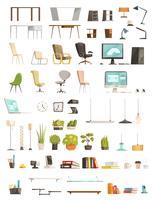 Ensemble de dessin animé d'accessoires de bureau moderne
