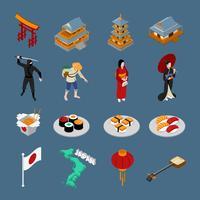 Ensemble touristique isométrique du Japon