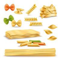 Ensemble d'icônes réalistes assortiment de pâtes sèches