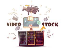 Illustration rétro du concept de l'industrie vidéo Microstock vecteur