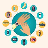 Affiche de composition de cercle plat de technologie portable vecteur