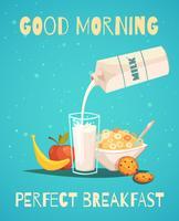 Affiche de petit déjeuner avec bonjour souhaitant