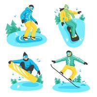 Personnes sur des compositions de conception de snowboard vecteur