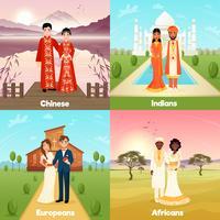 Concept de conception de couples de mariage multiculturel