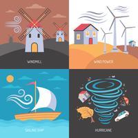Énergie éolienne à plat vecteur