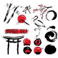 Ensemble d'icônes de peinture à l'encre japonaise sumie vecteur