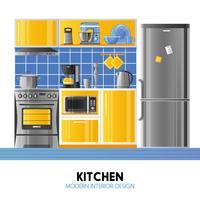 Cuisine design d'intérieur moderne vecteur