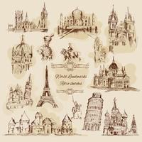 Ensemble d'icônes Vintage Sketch Vintage vecteur