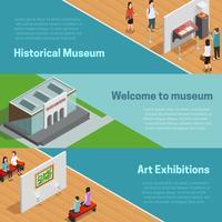 Ensemble de bannières musée isométrique