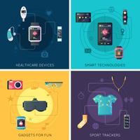 Wearable Technology 4 Place des icônes plates vecteur