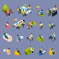 coworking people icons set
