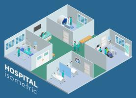 Affiche de vue intérieure d'hôpital médical isométrique