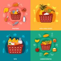 Composition de panier de nourriture saine supermarché vecteur